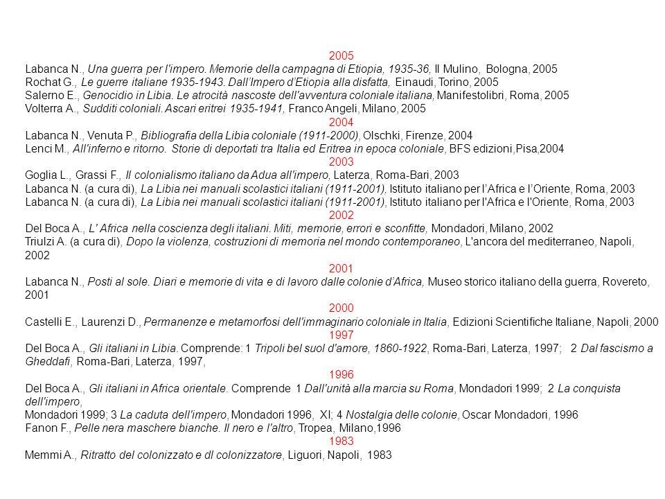 2005 Labanca N., Una guerra per l'impero. Memorie della campagna di Etiopia, 1935-36, Il Mulino, Bologna, 2005 Rochat G., Le guerre italiane 1935-1943