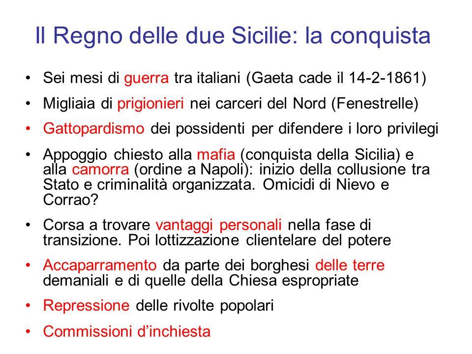 Il Regno delle due Sicilie: la conquista Sei mesi di guerra tra italiani (Gaeta cade il 14-2-1861) Migliaia di prigionieri nei carceri del Nord (Fenes