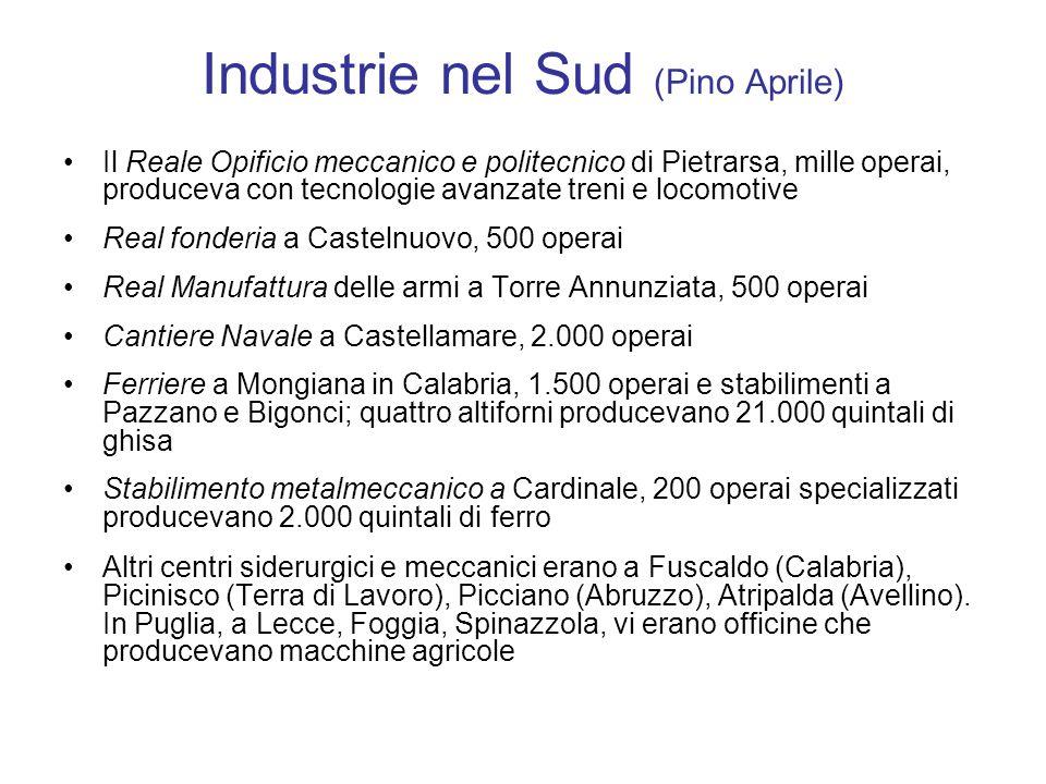 Industrie nel Sud (Pino Aprile) Il Reale Opificio meccanico e politecnico di Pietrarsa, mille operai, produceva con tecnologie avanzate treni e locomo