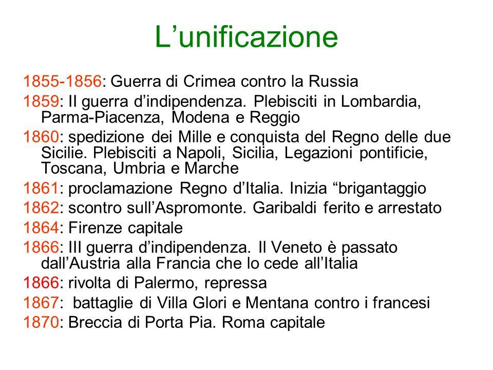 Lunificazione 1855-1856: Guerra di Crimea contro la Russia 1859: II guerra dindipendenza. Plebisciti in Lombardia, Parma-Piacenza, Modena e Reggio 186
