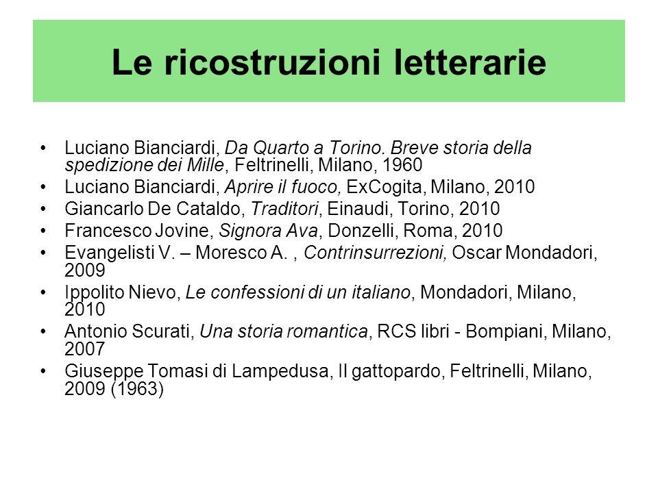 Le ricostruzioni letterarie Luciano Bianciardi, Da Quarto a Torino. Breve storia della spedizione dei Mille, Feltrinelli, Milano, 1960 Luciano Biancia