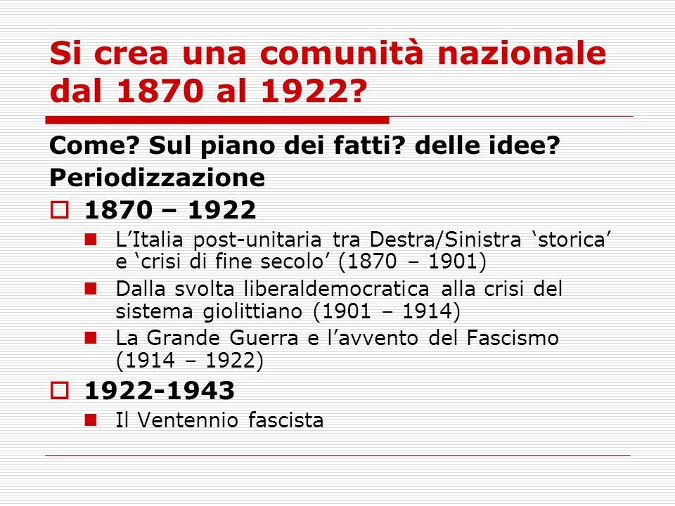 Si crea una comunità nazionale dal 1870 al 1922? Come? Sul piano dei fatti? delle idee? Periodizzazione 1870 – 1922 LItalia post-unitaria tra Destra/S