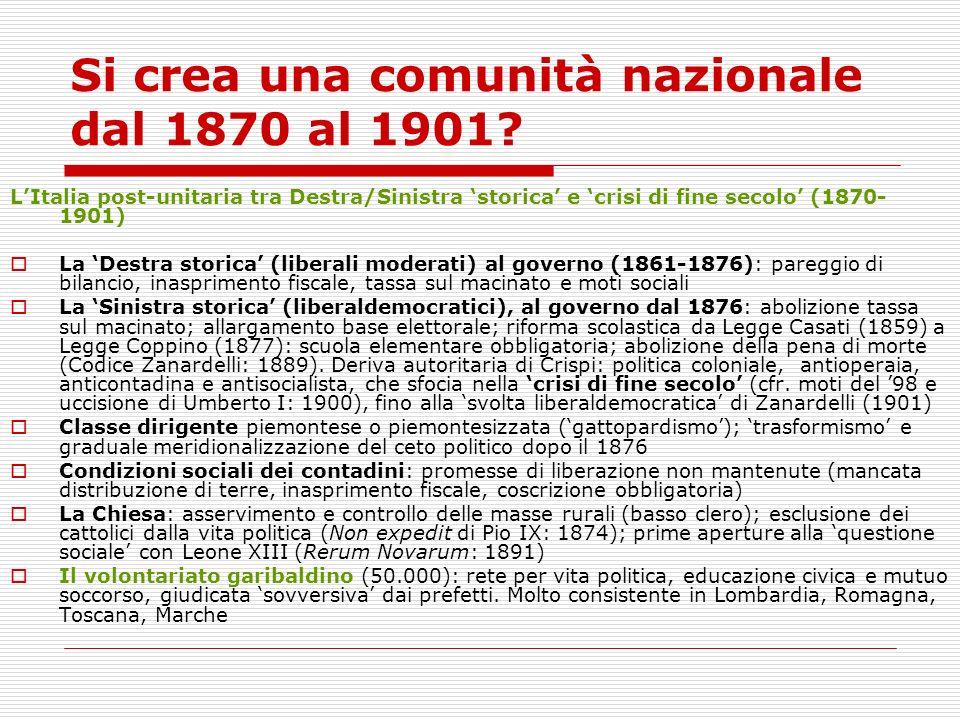 Si crea una comunità nazionale dal 1870 al 1901? LItalia post-unitaria tra Destra/Sinistra storica e crisi di fine secolo (1870- 1901) La Destra stori