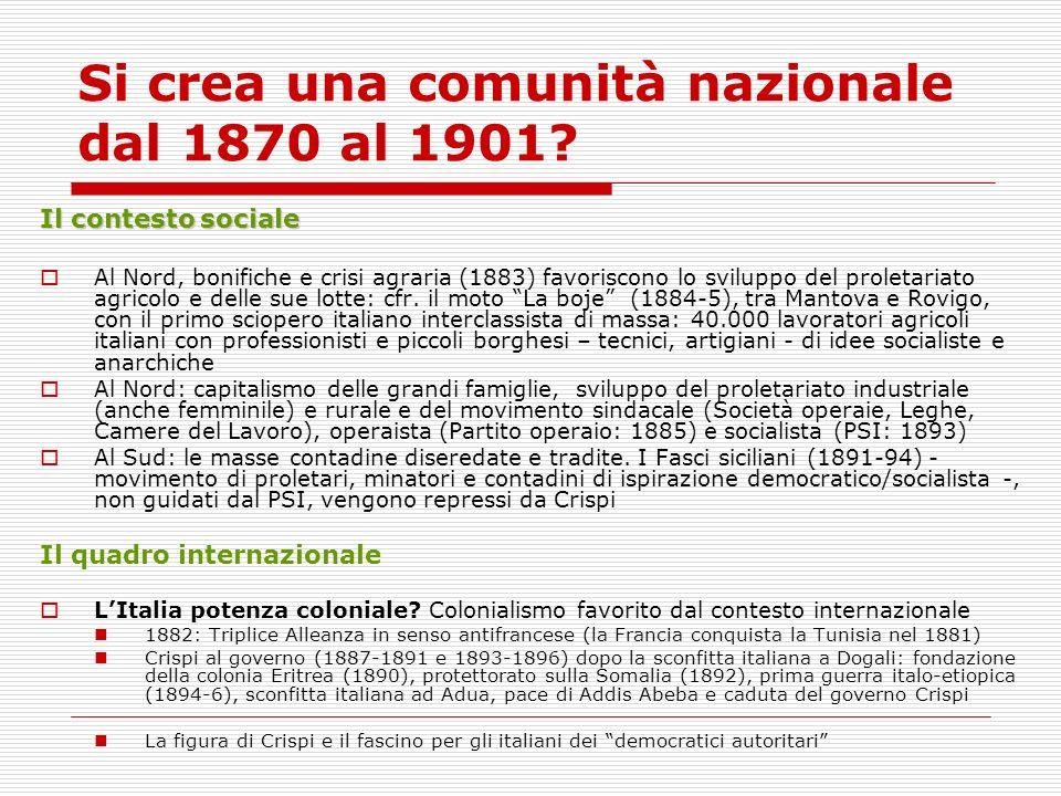 Si crea una comunità nazionale dal 1870 al 1901? Il contesto sociale Al Nord, bonifiche e crisi agraria (1883) favoriscono lo sviluppo del proletariat