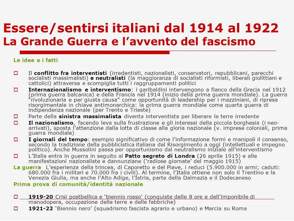 Essere/sentirsi italiani dal 1914 al 1922 La Grande Guerra e lavvento del fascismo Le idee e i fatti Il conflitto fra interventisti (irredentisti, naz