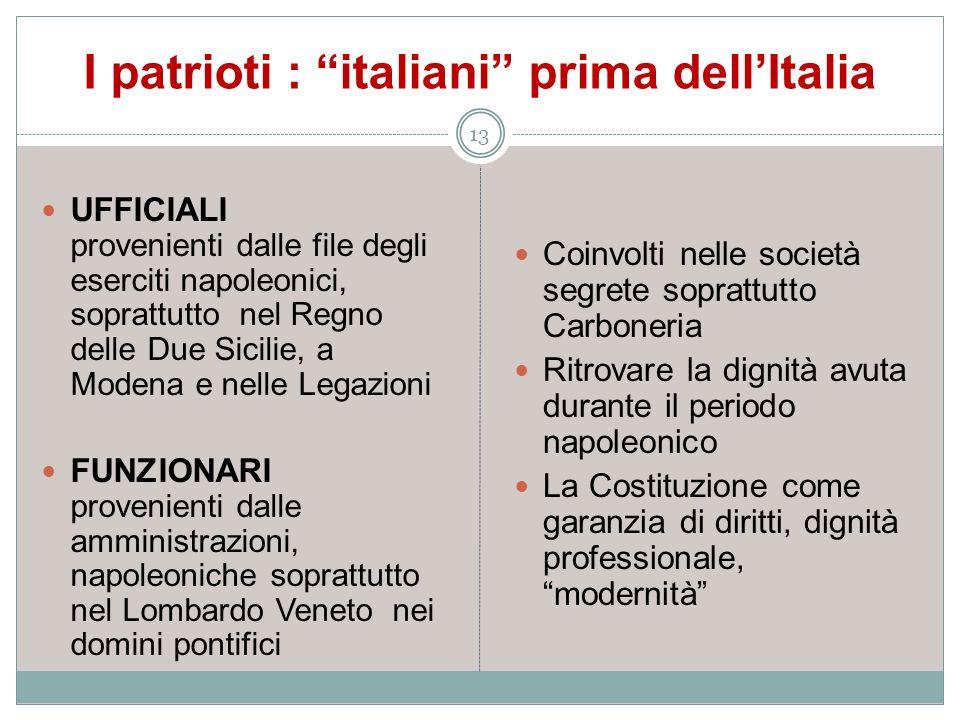 I patrioti : italiani prima dellItalia 13 UFFICIALI provenienti dalle file degli eserciti napoleonici, soprattutto nel Regno delle Due Sicilie, a Mode