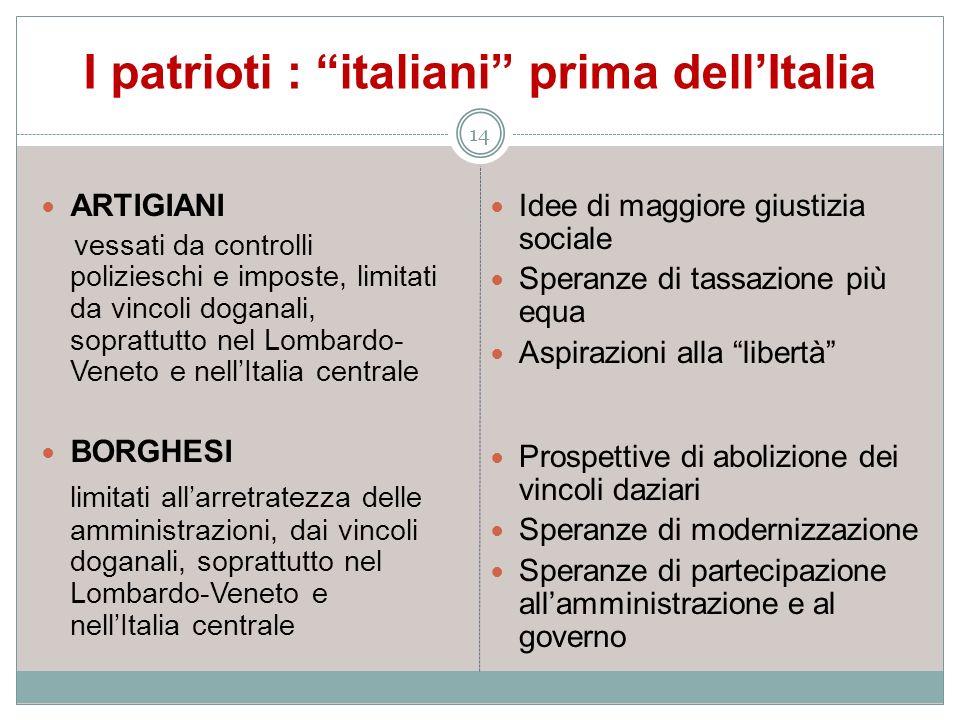 I patrioti : italiani prima dellItalia 14 ARTIGIANI vessati da controlli polizieschi e imposte, limitati da vincoli doganali, soprattutto nel Lombardo