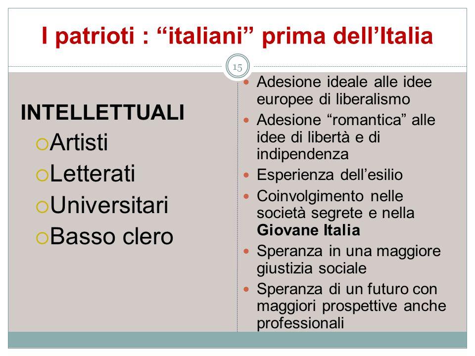 I patrioti : italiani prima dellItalia 15 INTELLETTUALI Artisti Letterati Universitari Basso clero Adesione ideale alle idee europee di liberalismo Ad