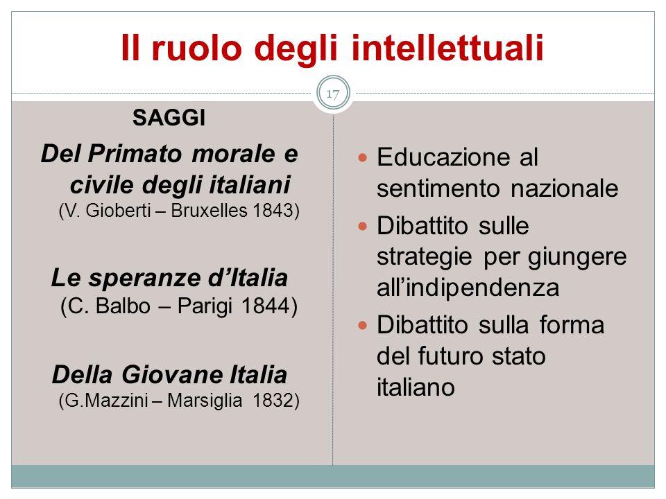 Il ruolo degli intellettuali 17 SAGGI Del Primato morale e civile degli italiani (V. Gioberti – Bruxelles 1843) Le speranze dItalia (C. Balbo – Parigi