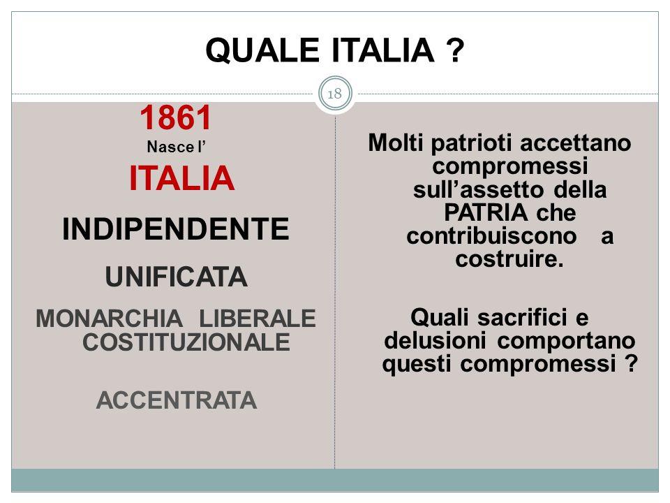 QUALE ITALIA ? 18 1861 Nasce l ITALIA INDIPENDENTE UNIFICATA MONARCHIA LIBERALE COSTITUZIONALE ACCENTRATA Molti patrioti accettano compromessi sullass