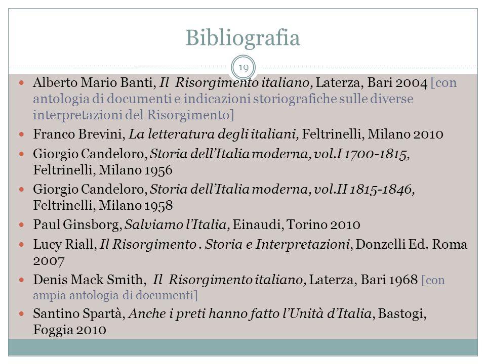 Bibliografia 19 Alberto Mario Banti, Il Risorgimento italiano, Laterza, Bari 2004 [con antologia di documenti e indicazioni storiografiche sulle diver