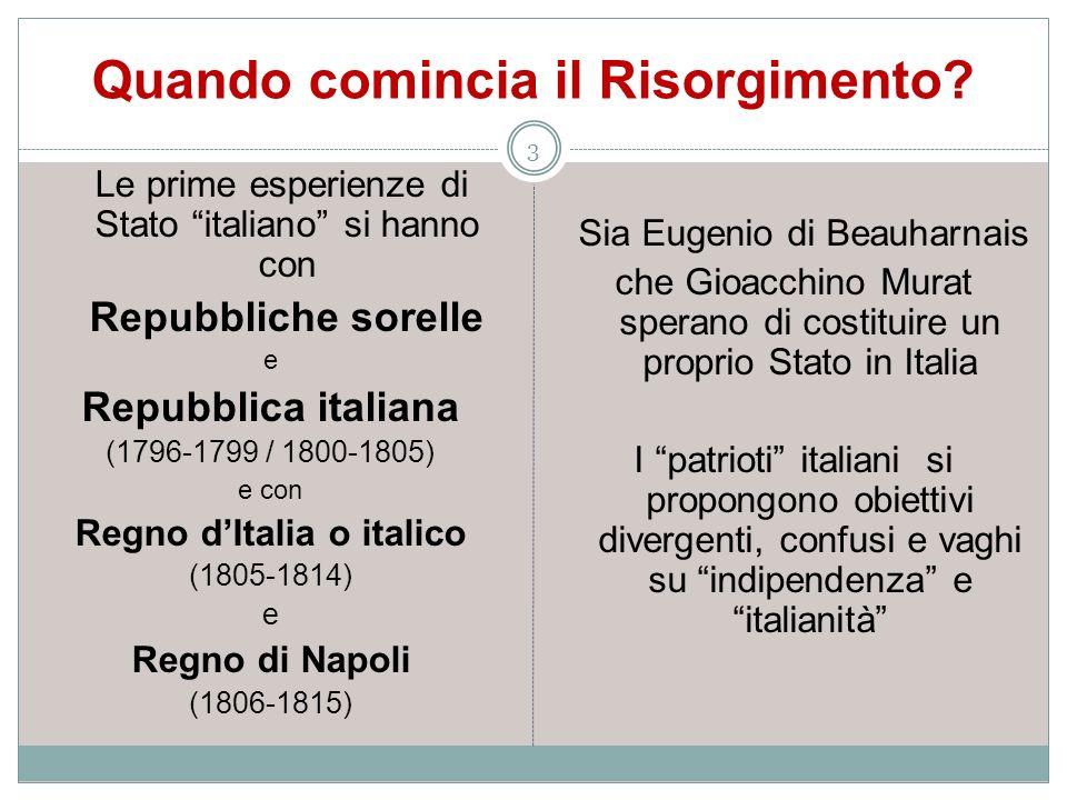 Quando comincia il Risorgimento? 3 Le prime esperienze di Stato italiano si hanno con Repubbliche sorelle e Repubblica italiana (1796-1799 / 1800-1805