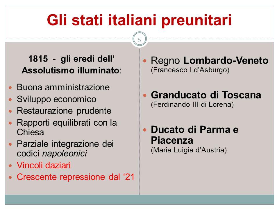 Gli stati italiani preunitari 5 1815 - gli eredi dell Assolutismo illuminato: Buona amministrazione Sviluppo economico Restaurazione prudente Rapporti
