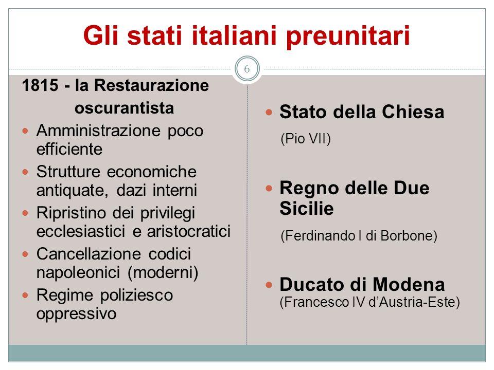 Gli stati italiani preunitari 6 1815 - la Restaurazione oscurantista Amministrazione poco efficiente Strutture economiche antiquate, dazi interni Ripr