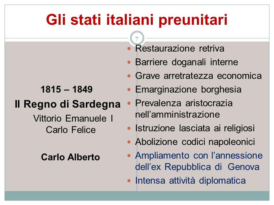 Gli stati italiani preunitari 7 1815 – 1849 Il Regno di Sardegna Vittorio Emanuele I Carlo Felice Carlo Alberto Restaurazione retriva Barriere doganal