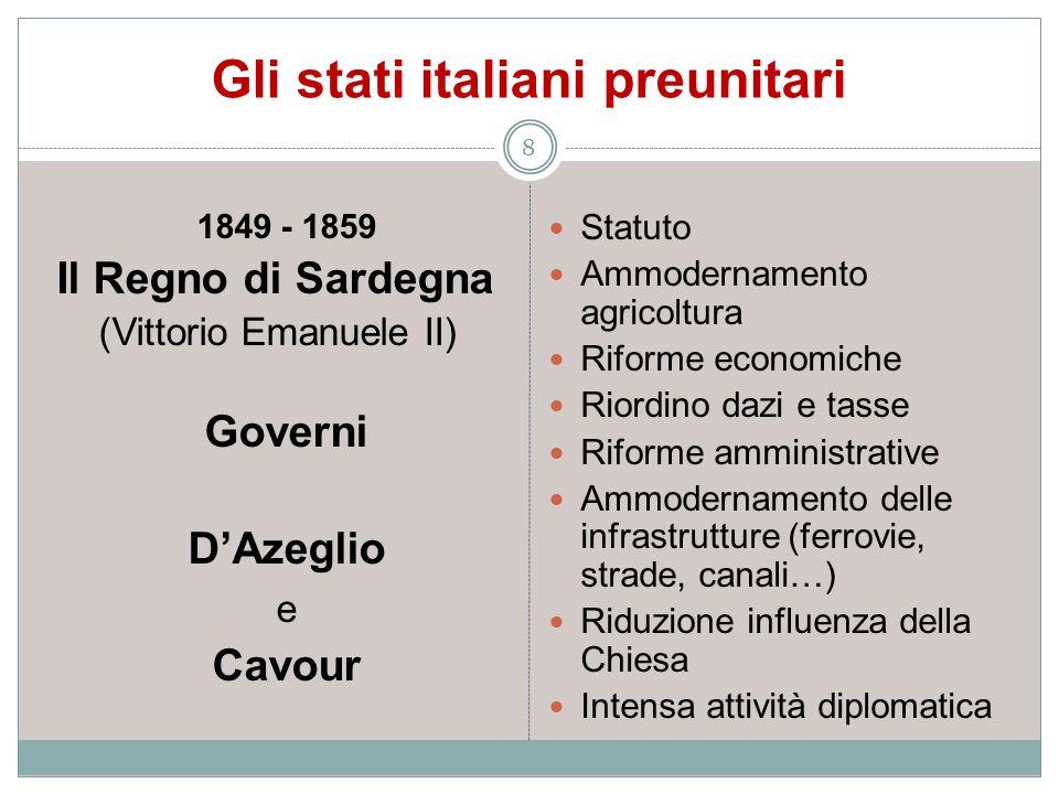 Gli stati italiani preunitari 8 1849 - 1859 Il Regno di Sardegna (Vittorio Emanuele II) Governi DAzeglio e Cavour Statuto Ammodernamento agricoltura R