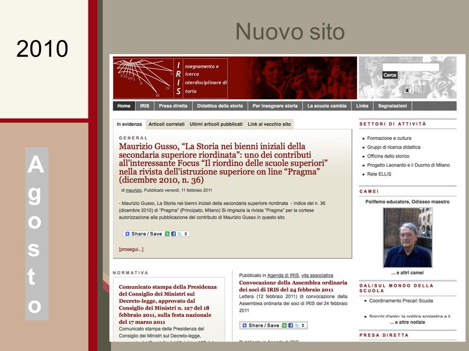 Nuovo sito AgostoAgosto 2010