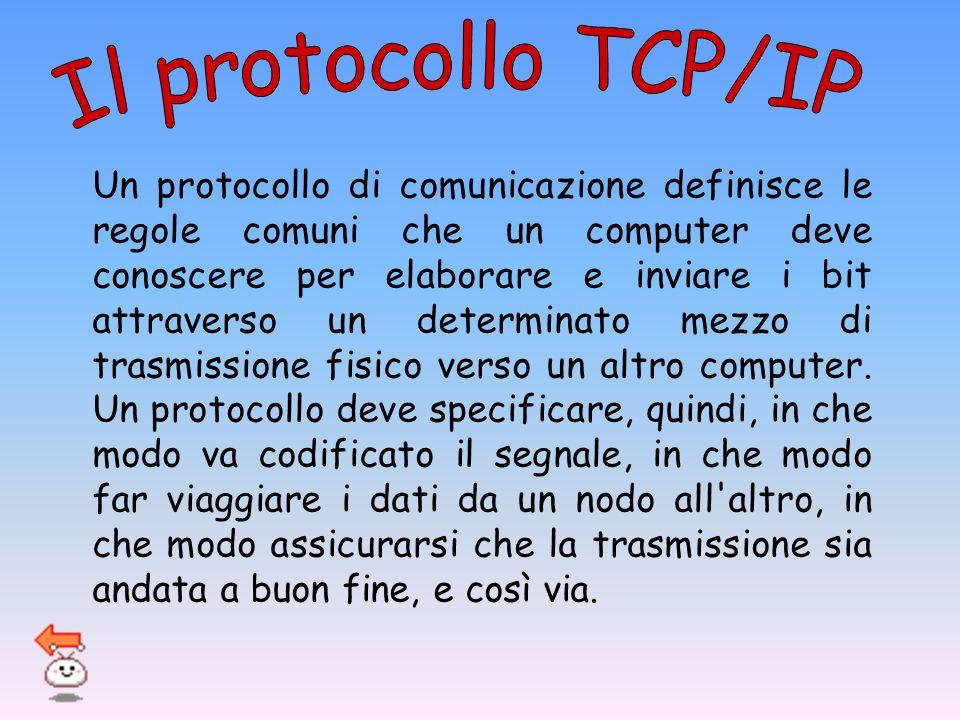 Un protocollo di comunicazione definisce le regole comuni che un computer deve conoscere per elaborare e inviare i bit attraverso un determinato mezzo