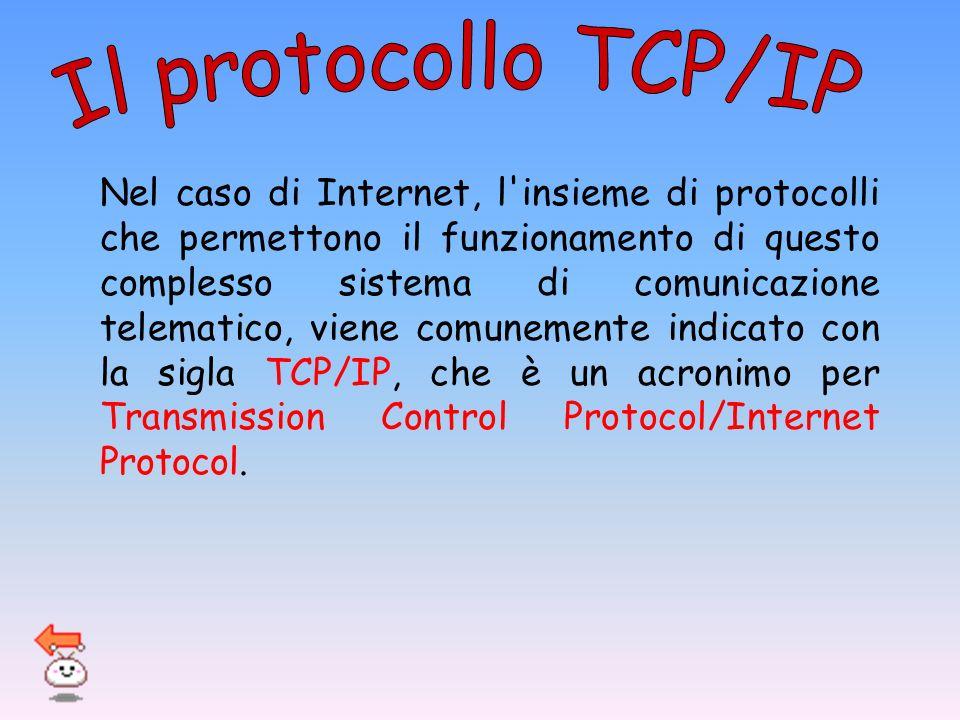 Nel caso di Internet, l'insieme di protocolli che permettono il funzionamento di questo complesso sistema di comunicazione telematico, viene comunemen