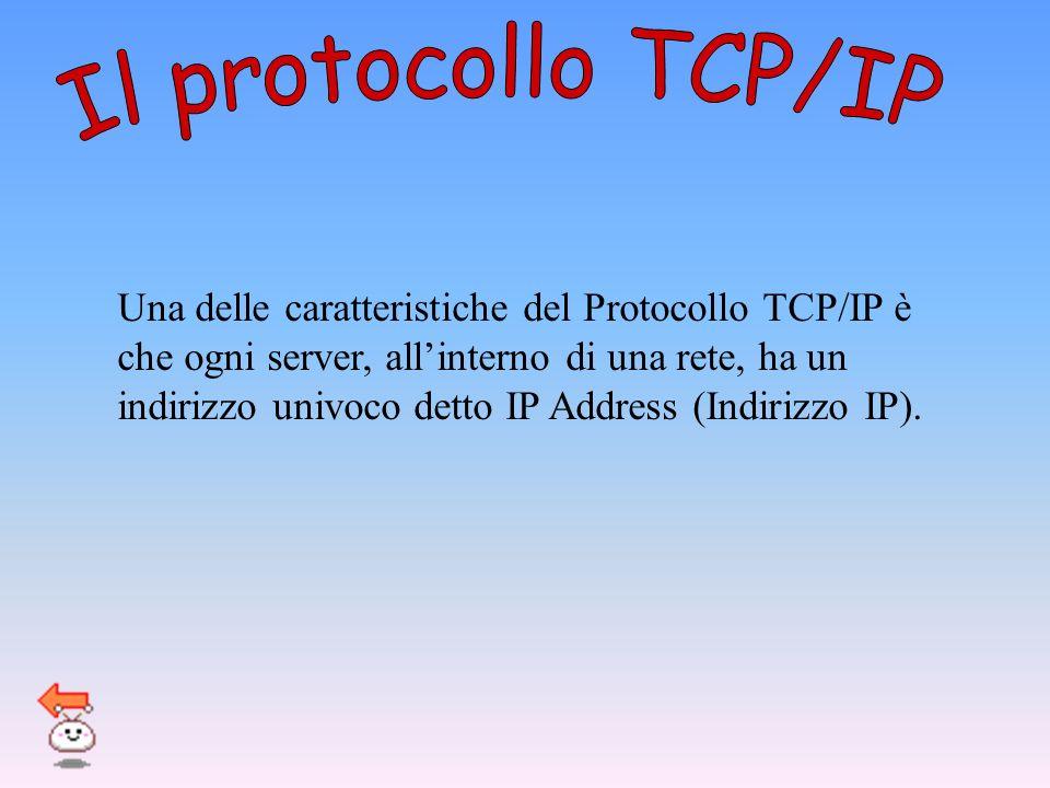 Una delle caratteristiche del Protocollo TCP/IP è che ogni server, allinterno di una rete, ha un indirizzo univoco detto IP Address (Indirizzo IP).