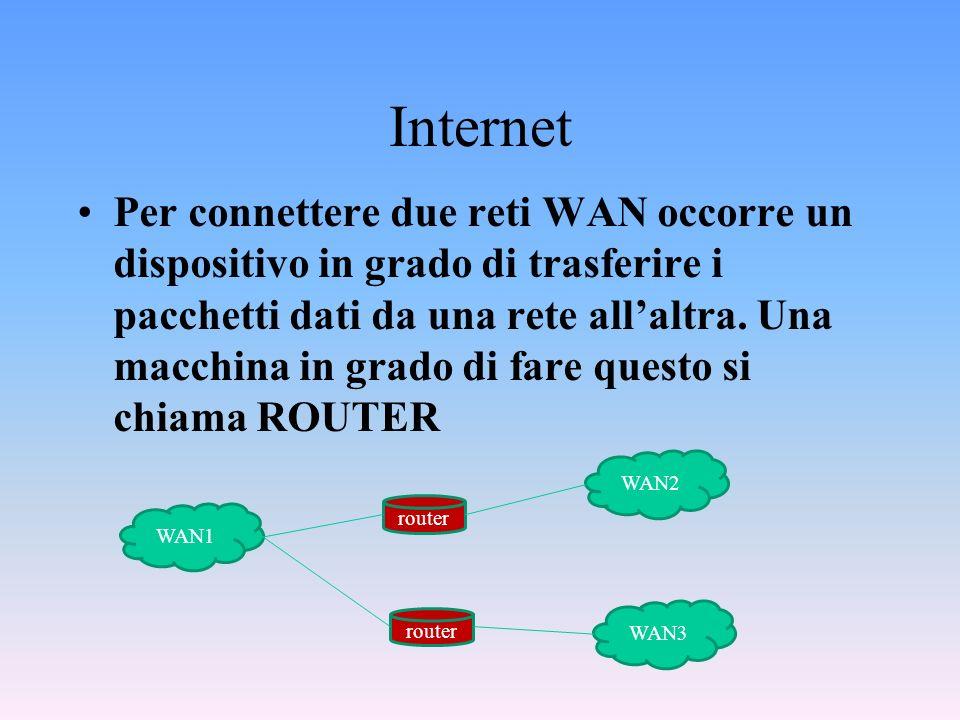 Internet Per connettere due reti WAN occorre un dispositivo in grado di trasferire i pacchetti dati da una rete allaltra. Una macchina in grado di far