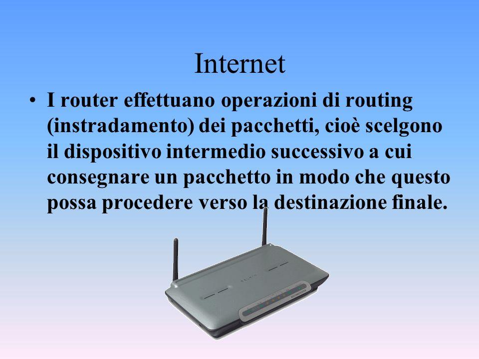 Internet I router effettuano operazioni di routing (instradamento) dei pacchetti, cioè scelgono il dispositivo intermedio successivo a cui consegnare