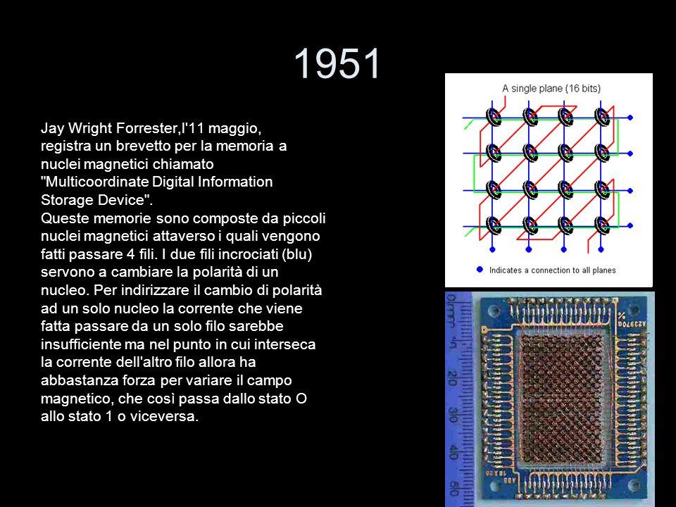 1951 Jay Wright Forrester,l'11 maggio, registra un brevetto per la memoria a nuclei magnetici chiamato
