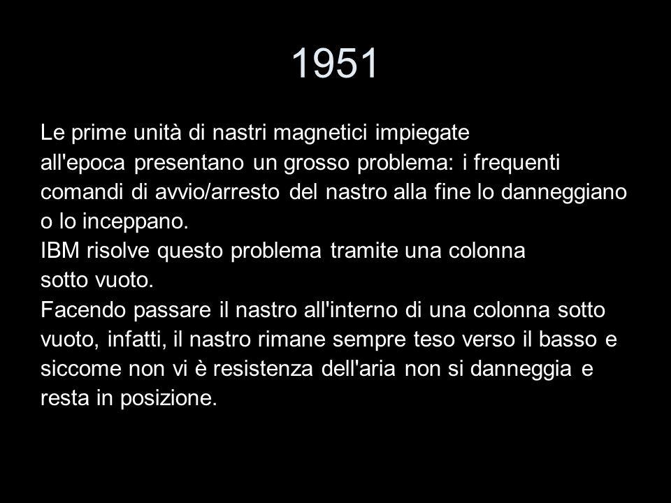 1951 Le prime unità di nastri magnetici impiegate all'epoca presentano un grosso problema: i frequenti comandi di avvio/arresto del nastro alla fine l