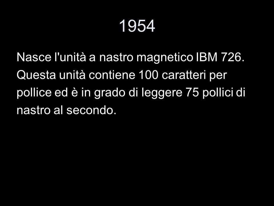 1954 Nasce l'unità a nastro magnetico IBM 726. Questa unità contiene 100 caratteri per pollice ed è in grado di leggere 75 pollici di nastro al second