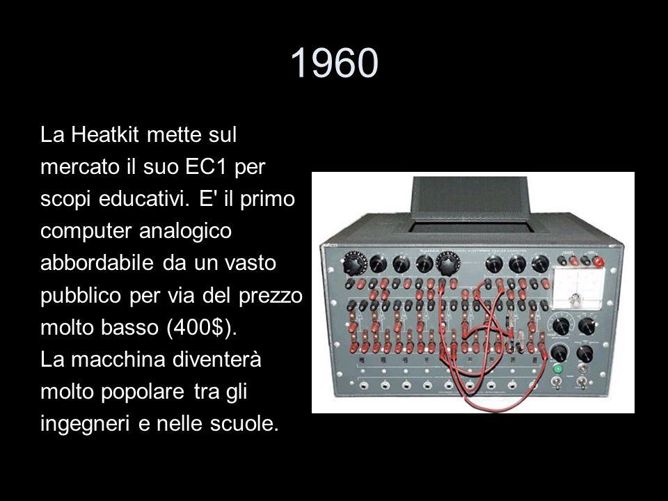 1960 La Heatkit mette sul mercato il suo EC1 per scopi educativi. E' il primo computer analogico abbordabile da un vasto pubblico per via del prezzo m