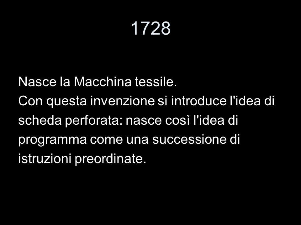 1728 Nasce la Macchina tessile. Con questa invenzione si introduce l'idea di scheda perforata: nasce così l'idea di programma come una successione di