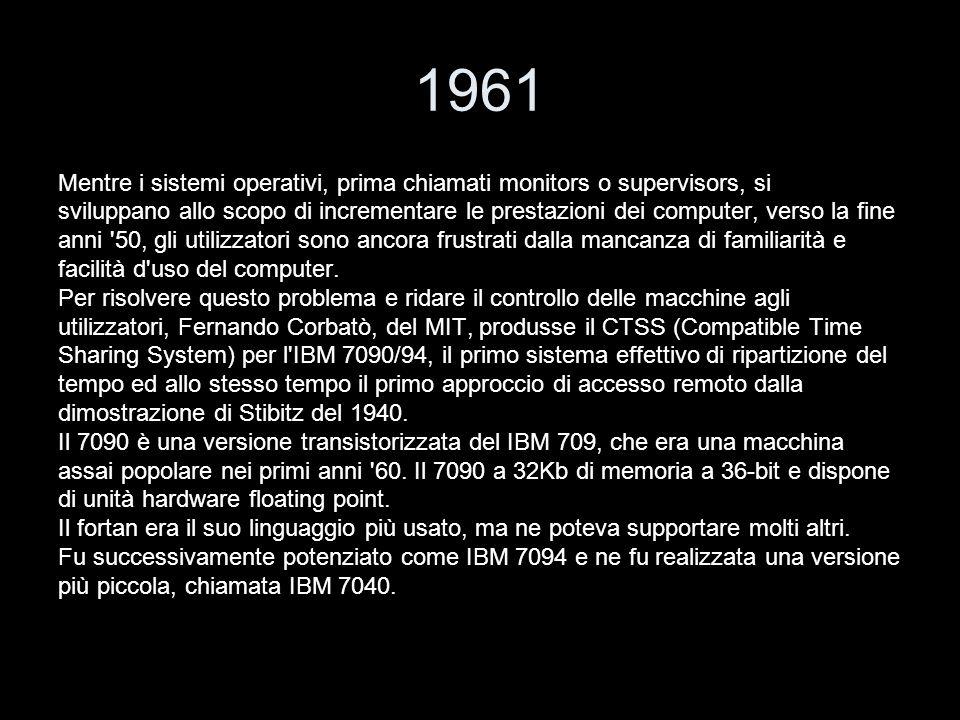 1961 Mentre i sistemi operativi, prima chiamati monitors o supervisors, si sviluppano allo scopo di incrementare le prestazioni dei computer, verso la