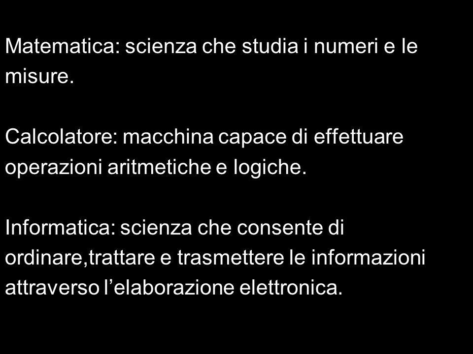 Matematica: scienza che studia i numeri e le misure. Calcolatore: macchina capace di effettuare operazioni aritmetiche e logiche. Informatica: scienza