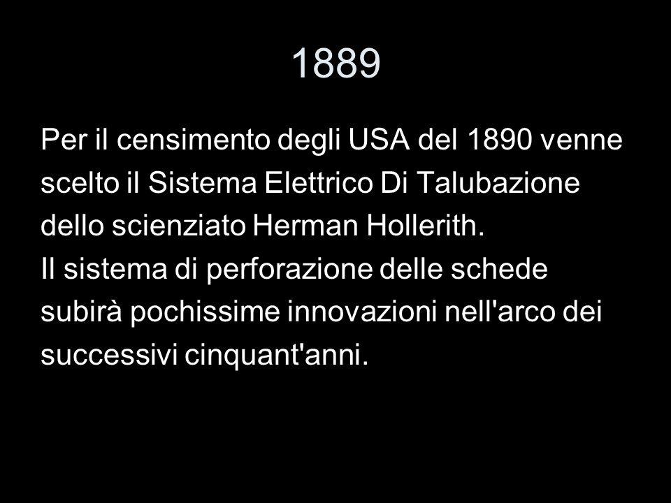 1889 Per il censimento degli USA del 1890 venne scelto il Sistema Elettrico Di Talubazione dello scienziato Herman Hollerith. Il sistema di perforazio