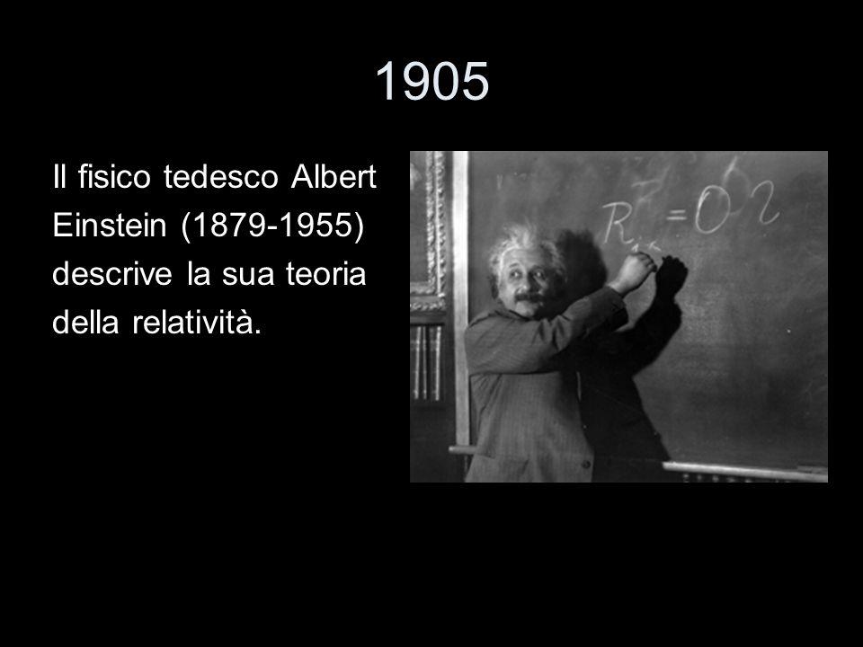 1905 Il fisico tedesco Albert Einstein (1879-1955) descrive la sua teoria della relatività.
