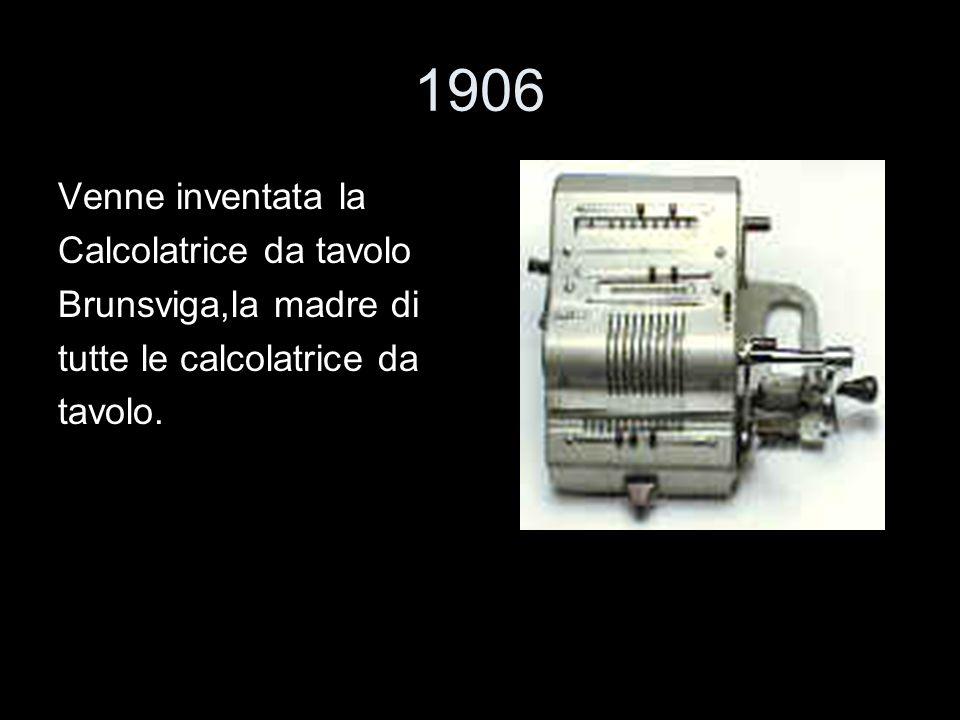 1906 Venne inventata la Calcolatrice da tavolo Brunsviga,la madre di tutte le calcolatrice da tavolo.