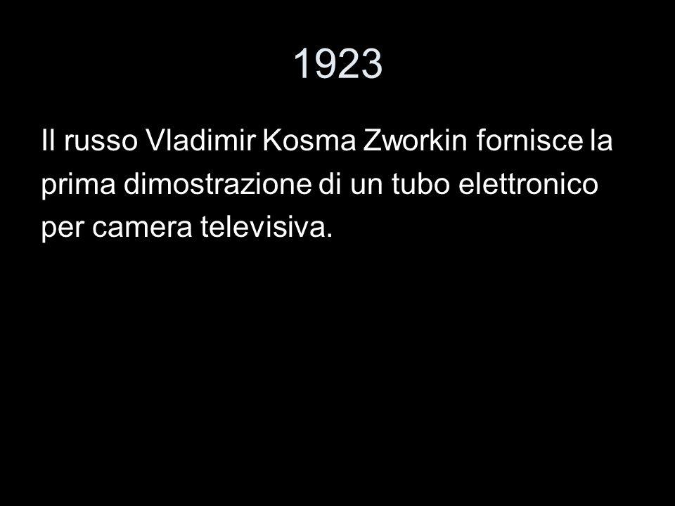 1923 Il russo Vladimir Kosma Zworkin fornisce la prima dimostrazione di un tubo elettronico per camera televisiva.