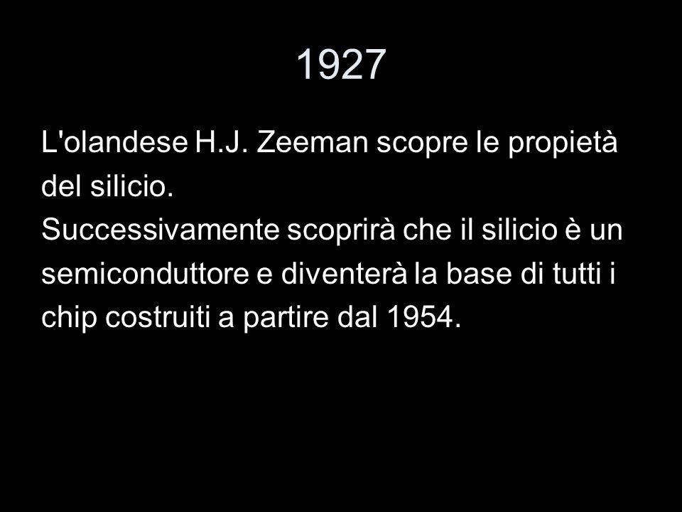1927 L'olandese H.J. Zeeman scopre le propietà del silicio. Successivamente scoprirà che il silicio è un semiconduttore e diventerà la base di tutti i