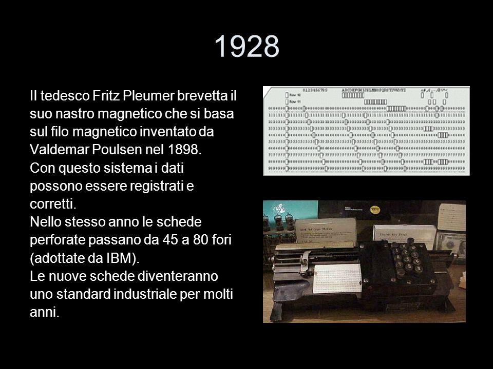 1928 Il tedesco Fritz Pleumer brevetta il suo nastro magnetico che si basa sul filo magnetico inventato da Valdemar Poulsen nel 1898. Con questo siste
