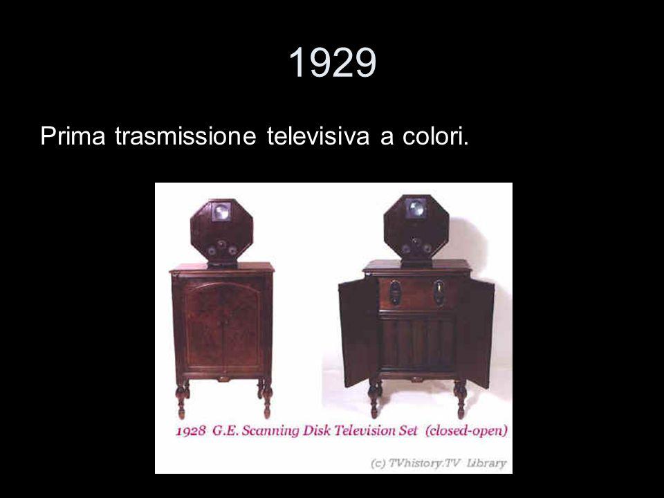 1929 Prima trasmissione televisiva a colori.