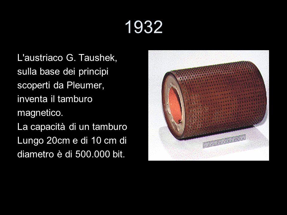 1932 L'austriaco G. Taushek, sulla base dei principi scoperti da Pleumer, inventa il tamburo magnetico. La capacità di un tamburo Lungo 20cm e di 10 c