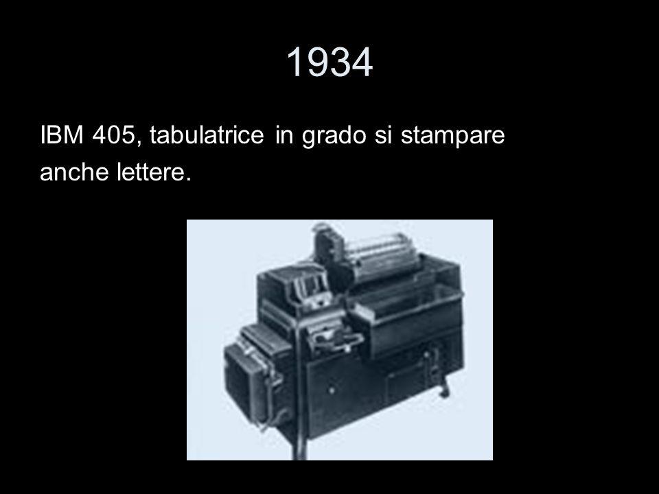 1934 IBM 405, tabulatrice in grado si stampare anche lettere.
