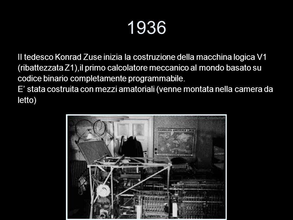 1936 Il tedesco Konrad Zuse inizia la costruzione della macchina logica V1 (ribattezzata Z1),il primo calcolatore meccanico al mondo basato su codice