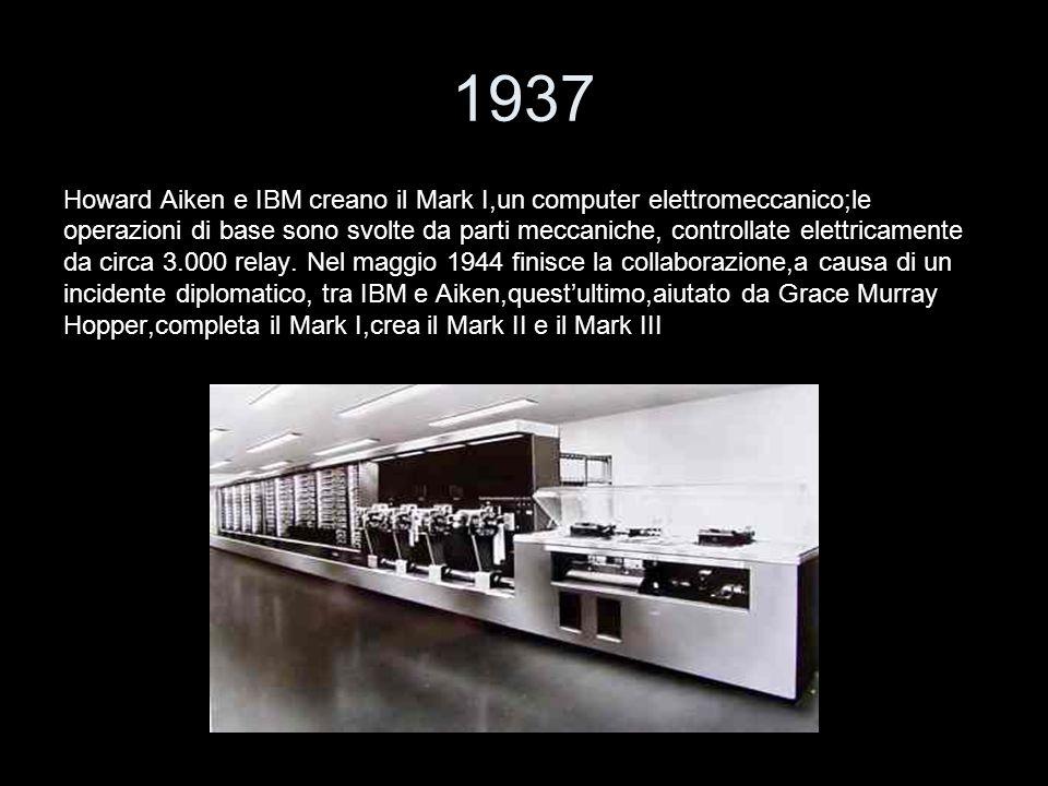 1937 Howard Aiken e IBM creano il Mark I,un computer elettromeccanico;le operazioni di base sono svolte da parti meccaniche, controllate elettricament