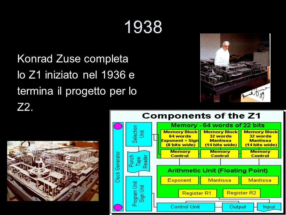 1938 Konrad Zuse completa lo Z1 iniziato nel 1936 e termina il progetto per lo Z2.