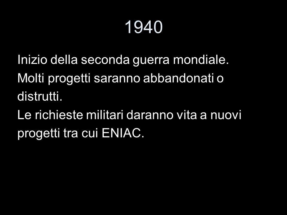 1940 Inizio della seconda guerra mondiale. Molti progetti saranno abbandonati o distrutti. Le richieste militari daranno vita a nuovi progetti tra cui
