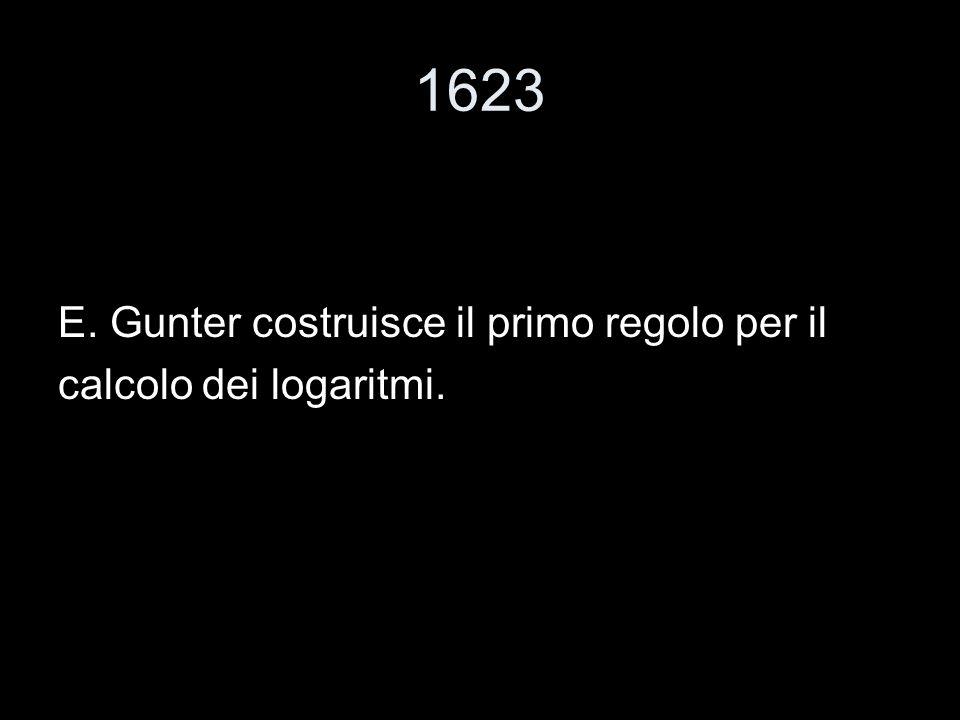 1623 E. Gunter costruisce il primo regolo per il calcolo dei logaritmi.
