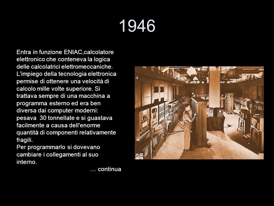 1946 Entra in funzione ENIAC,calcolatore elettronico che conteneva la logica delle calcolatrici elettromeccaniche. L'impiego della tecnologia elettron