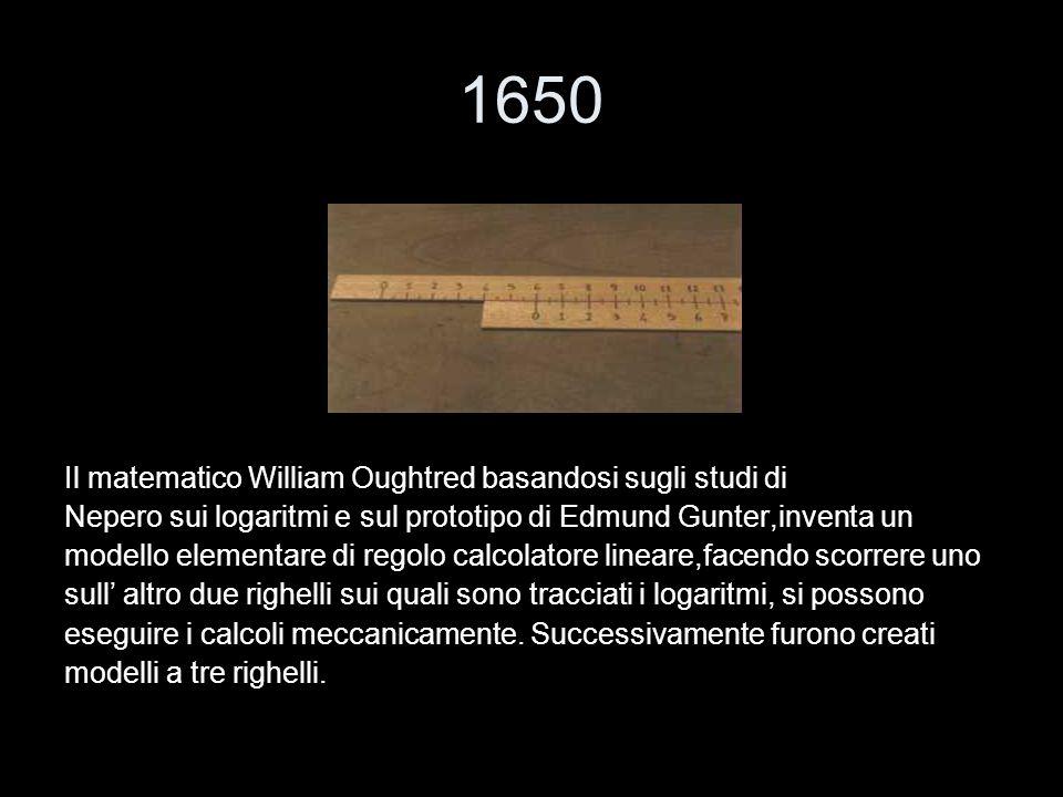 1650 Il matematico William Oughtred basandosi sugli studi di Nepero sui logaritmi e sul prototipo di Edmund Gunter,inventa un modello elementare di re