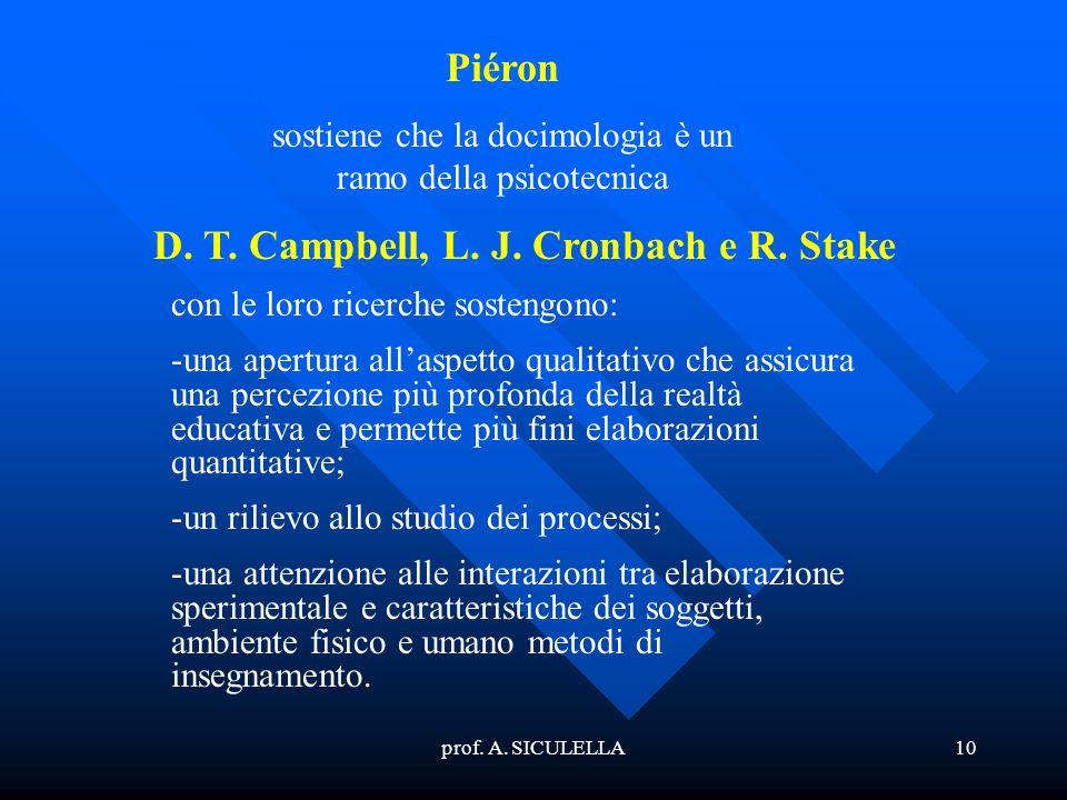 prof. A. SICULELLA10 Piéron sostiene che la docimologia è un ramo della psicotecnica con le loro ricerche sostengono: -una apertura allaspetto qualita